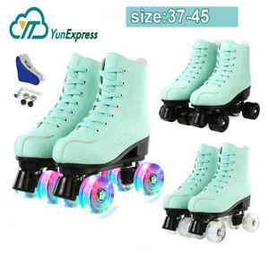 Women Roller Skates High-top Four-Wheel Double Row Roller Skates Youth Girls UK