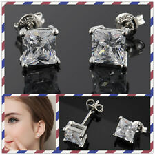 Hot Bohemian Unisex White Gold Plated Square Clear CZ Mens Womens Stud Earrings