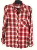Universal Thread M Top Plaid Red Button Front  Shirt Women's Medium