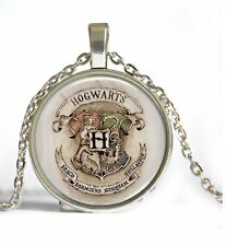 Silver Harry Potter Hogwarts Slytherin Crest Cabochon Glass Pendant Necklace -7