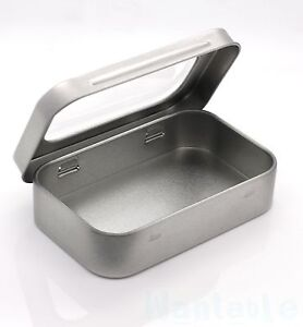 Small Silver Metal Tin Case With Window Trinket Pill Box Tablet Survival Camping