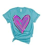 Party On! Women's 'Scribble Heart' Crew Neck Short Sleeve Tee (Aqua Bright, M)