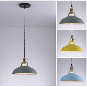 Vintage Industrial Blue,Green,Yellow Metal Shade Fabric Pendant Light Lampshade