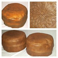 MOROCCAN POUFFES HANDMADE REAL LEATHER SET OF 2 TAN / TOBACCO FOOTSTOOL BEANBAG