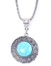 NEW WOMEN'S TIBETAN SILVER TURQUOISE ROUND SHAPED PENDANT NECKLACE