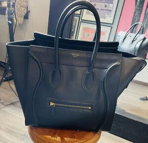 CELINE Authentic Mini Luggage Bag Smooth Black Calfskin Leather Handbag Tote