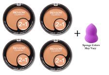 Revlon ColorStay 2-in-1 Compact, True Beige (4 Pack) + Makeup Sponge
