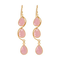 925 Solid Sterling Silver Gold Plated Pink Chalcedony Earrings
