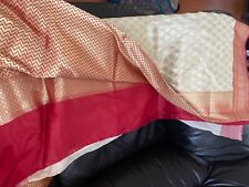 Never worn gorgeous off white and red Banarasi silk saree. Fall and pico done.