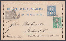 1898 Paraguay uprated Letter Card to Berlin (B/S) Germany; scarce