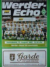 Programm 1992/93 SV Werder Bremen - Bayer Leverkusen
