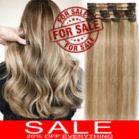 CLEARANCE Clip in 100% REAL Remy Human Hair Extensions Full Head Highlight P312