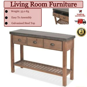 Hallway Console Table Solid Fir Wood Living Room Industrial Steel Top Furniture