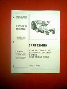 "SEARS CRAFTSMAN REAR ENGINE RIDER 10HP 30"" 5-SP MODEL # 502.255040 PARTS MANUAL"
