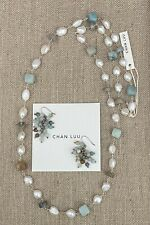 $265 NWT Chan Luu Freshwater Pearl Amazonite Labradorite Mix Sterling Necklace