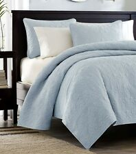 SKY BLUE MATELASSE 3pc Full Queen QUILT SET : COTTON FILL QUILT COVERLET BEDDING