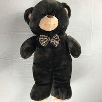"""Goffa Plush Bear VTG Large 21"""" Stuffed Teddy Big Dark Brown Bow Tie Cuddly Kids"""
