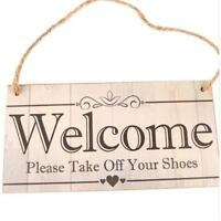 Welcome Vintage Plaque Hanging Door Sign Wall Hanging Board Home Decor H