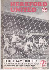Programma / Programme Hereford United v Torquay United 23-09-1981