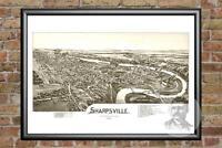 Old Map of Sharpsville, PA from 1901 - Vintage Pennsylvania Art, Historic Decor