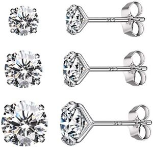 Lot of 3 pr. White Sapphire Stud Earrings - Martini look - Solid Sterling Silver