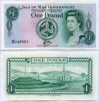 ISLE OF MAN 1 POUND 1983 P 38 TYVEK AUNC ABOUT UNC