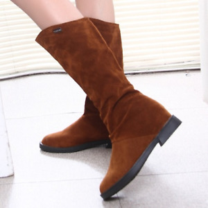 Women Boots Matte Flock Boots For Female Ladies Height Increased Low Heel Shoes