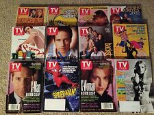 TV GUIDE LOT - SET OF 12 ISSUES FROM 1991-2002, XFILES, BACKSTREET BOYS, AUCTION