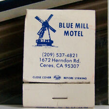 Rare Vintage Matchbook J1 Ceres California Blue Mill Motel Windmill Herndon Rd