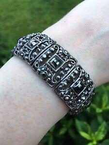 Marcasite & Crystal Style Detailed Elastic Bracelet