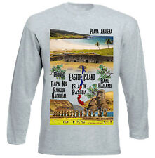 CHILE EASTER ISLAND - NEW COTTON GREY TSHIRT