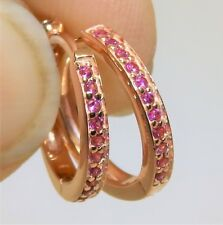 ROSE GOLD OVER SOLID 925 STERLING SILVER SIMULATED RUBY CREOLE HOOP EARRINGS