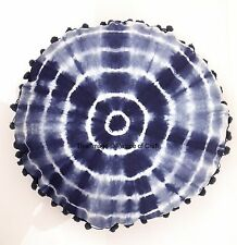 Indian Indigo Blue Tie & Dye Print Round Cushion Cover Pure Cotton Pillow Case