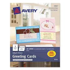 Avery Half-Fold Greeting Cards Inkjet 5 1/2 x 8 1/2 Matte White 20/Box w