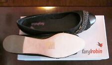 FARYLROBIN BLACK EMBELLISHED LEATHER FLAT Size 10 NEW in Box
