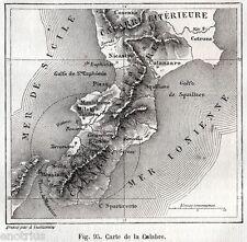 Carta del Terremoto del 5 Febbraio 1783: Calabria e Messina. Stampa Antica. 1880