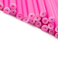 x100 150mm x 4.5mm Pink Coloured Plastic Lollipop Lolly Cake Pop Sticks Crafts