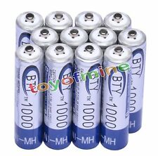 12x AAA 1000mAh 3A 1.2 V Ni-MH Rechargeable Battery BTY Cell for MP3 RC Toys