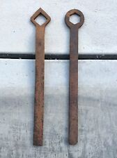 very old forged sulky wheel nut spanners
