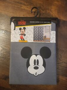NEW Disney Mickey Mouse Shower Curtain 72 x 72 in Black White And Gray NWT