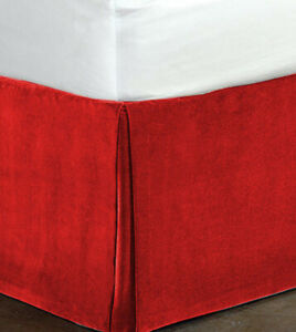 Cotton Velvet Bed Skirt-Bed Valance-No Pins Required-Box Pleated-Durable & Stiff