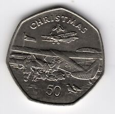More details for 1985 50p coin iom christmas de havilland plane aa isle of man fifty pence iom228