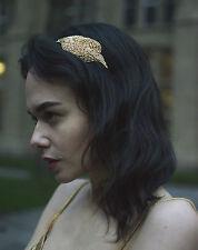 1920s Gold Beaded Headpiece Flapper Headband Great Gatsby Vintage Art Deco Q59