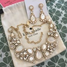 Kate Spade BUTTER UP MOTHER OF PEARL CRYSTAL STATEMENT Necklace & Earrings SET