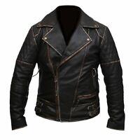 Mens Marlon Brando Biker Motorcycle Vintage Distressed Brown Leather Jacket