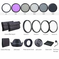 52MM Lens Filter Kit UV CPL FLD + ND 2 4 8 + Macro Close Up Lens Set for Nikon