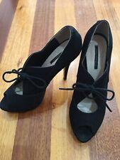 Tony Bianco Designer Vintage Leather Black Ankle Platform Heel Shoes Sz 8.5 39