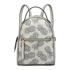 Ladies Faux Leather Girls Travel Backpack Small Shoulder Bag Floral/Pineapple