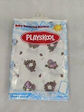 Playskool Baby Receiving Blanket NOS 2001 Purple Flowers Bear