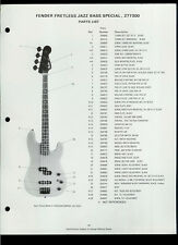 1987 Fender Fretless Jazz Bass Special Guitar 277300 Dealer Sheet(s) Parts List